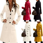 Women Trench Long Coat Cashmere Blend Slim Fit Parka Overcoat Windbreaker Belt