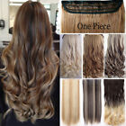 Real Long 100% Natural Extensions Clip in HAIR EXTENTIONS 5 Clips On Human TW5