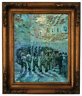 van Gogh Prisoners Exercising after Dore Wood Framed Canvas Print Repro 11x14