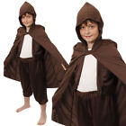 CHILDS BROWN HOODED CAPE BOOK WEEK FILM CHARACTER HALLOWEEN FANCY DRESS COSTUME