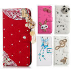 Bling Diamond Crystal PU Leather Flip Wallet Cards Case Cover Cute Decor Shell