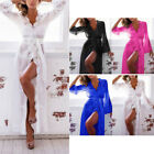 Women Sexy Lace Sheer Long Robe Nightgown Bathrobe Pajamas Nightdress Sleepwear