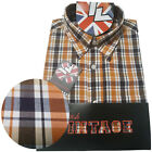 Warrior UK England Button Down Shirt STAMP Slim-Fit Skinhead Mod Retro