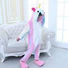 Unisex Kids Rainbow Unicorn Kigurumi Pajamas Animal Flannel Cosplay Sleepwear