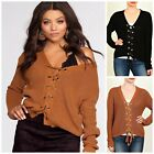LOVETREE Plus Cozy Lace Up Front Long Sleeve Cable Knit Sweater 2 Colors! 1X-3X