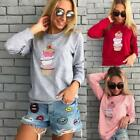 Autumn Women Long Sleeve Sweatshirt Ice Cream Printed Loose Tops Pullover S-XL