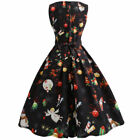 2017 Womens Christmas Print Lace Pin Up Swing Lace Party Panel Dress Xmas Gift
