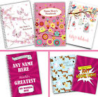 Personalised A5 Softbacked Notebook for her, Female, Girl, Notepad Wirebound
