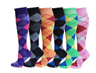 12Prs Women's Argyle Horse Design Horse riding Socks Ladies Knee high Socks Lot