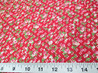 Discount Fabric Cotton Apparel Pink, Peach and Green Floral on Red 407K