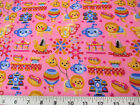 Discount Fabric Quilting Cotton Pink Carnival Day Trains Carousel Lion 301K