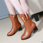 New Womens Martin Ankle Boots Leather high Heels ankle Shoes