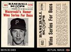 1961 Nu-Card Scoops #403  Bill Mazeroski  - Mazeroski Homer Wins S Pirates NM MT