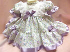 DREAM BABY LILAC FLOWERS TRADITIONAL NETTED DRESS 0 - 18 MONTHS OR REBORN DOLLS