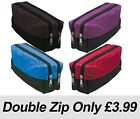 Double Zip Fabric Pencil Case - Ideal For School/College/Uni.- Make up Bag