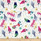 TROLLS on white : 100% LICENSED cotton  : By the 1/2 metre