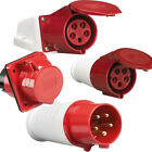 3 Phase 5 PIN 415V 32 AMP Red Industrial IP44 Weatherproof Plug & Sockets