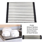 Black Roll Up Dish Drainer Drying Rack Holders Stainless Steel Over the Sink