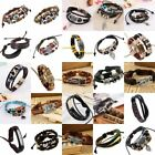 Women Men Vintage Retro Weave Leather Charm Beaded Cuff Bracelet Braided Bangle
