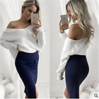 Casual Loose Long Sleeve Sweater Womens V-neck Knitwear Tops