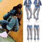 USA Womens High Waisted Skinny Ripped Denim Pants Slim Pencil Jeans Trousers