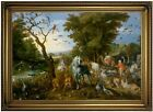 Brueghel Entry of the Animals into Noahs Ark Wood Framed Canvas Prnt Repro 19x28