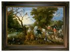 Brueghel Entry of the Animals into Noahs Ark Wood Framed Canvas Prnt Repro 12x18