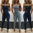 USA Women Washed Jeans Denim Casual Bodycon Jumpsuit Romper Overall Pants Bib YY