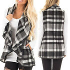 Cardigan Womens Coat Jacket Plaid Outerwear Autumn Warm Sleeveless Vest Fashion