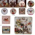 Vintage Rustic Wooden Wall Clock Antique Shabby Chic Table Decor Clocks Stickers