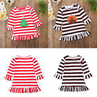 Toddler Baby Girl Happy Thanksgiving Christmas Dress Striped Sundress Outfit