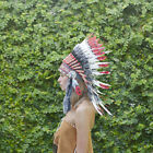 Indian Headdress Chief Real Feathers Bonnet Native American Red Party Festivals