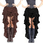 Gothic Asymmetry Steampunk Lace Ruffle Layered Vintage Cocktail Party Long Skirt