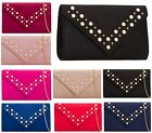 LADIES ENVELOPE FASHION FAUX SUEDE PEARLS STUDS PURSE PARTY WEDDING CLUTCH BAGS