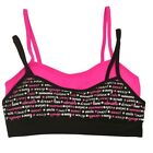 Sweet n Sassy Big Girls Fuchsia Black Word Print 2 Pc Cami Bra Set S 30A-L 34A
