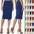 TheMogan S~3X Thick Ponte Stretch Knit High Waist Knee Length Pencil Midi Skirt