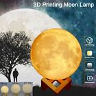 Xmas 3D Creative LED Luna Night Light Moon Desk Rechargeable Lamp Touch Control