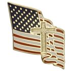 American Flag with Christian Cross Lapel Pin One Inch Gold Plate