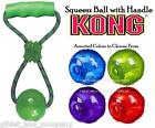 KONG SQUEEZZ BALL with HANDLE - M/L Squeaker TPR Ball Rope Handle Tug Dog Toy