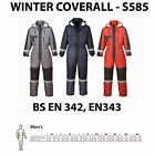 Portwest Waterproof Overall Padded Coverall Winter Boilersuit Hood Outdoors S585