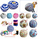 Kids Toy Storage Organizer Stuffed Animal Canvas Plush Bean Bag Chair Relax Sofa