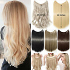 """100% Natural Thick 3/4 Full Head Band Hidden Wire Clip In Hair Extension 24"""" F69"""