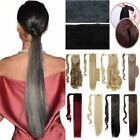 Pro Silky Long Wrap Around Clip in Ponytail Hair Extentions Blonde Auburn F69