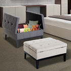 "HOMCOM 33"" Storage Bench Ottoman Coffee Table Fabric Upholst"
