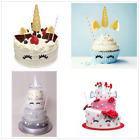 6pcs Shiny Unicorn Cupcake Toppers Birthday Cake Decor Baby Shower Party Favors