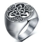 Vintage Mens Stainless Steel Ring Round Celtic Knot Signet Rings  Size 7-15