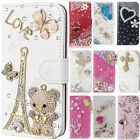 Magnetic Bling Flip Leather Stand Card Diamond Wallet Case Cover For LG