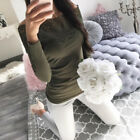 US Women Long Sleeve Shirt Hollow out Flowers Lace Chiffon Blouse Tee Tops