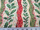 Discount Fabric Cotton Apparel Christmas Holly Red and Green Floral Stripes 18T