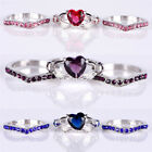 3PCS/Set Heart Cut Sapphire Silver Plated Crystal Ring Wedding Ring Jewelry 8xz